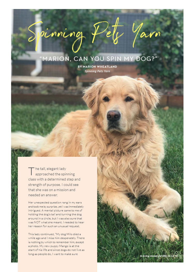 Magazine article. Image of a Golden retriever lying on grass. Title of the article is Spinning Pets Yarn. A quote beneath the title reads Marion can you spin my dog?